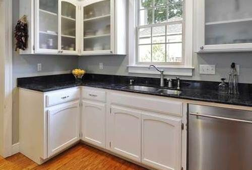 Existing volga blue countertop paint cabinets white for Blue countertops kitchen ideas