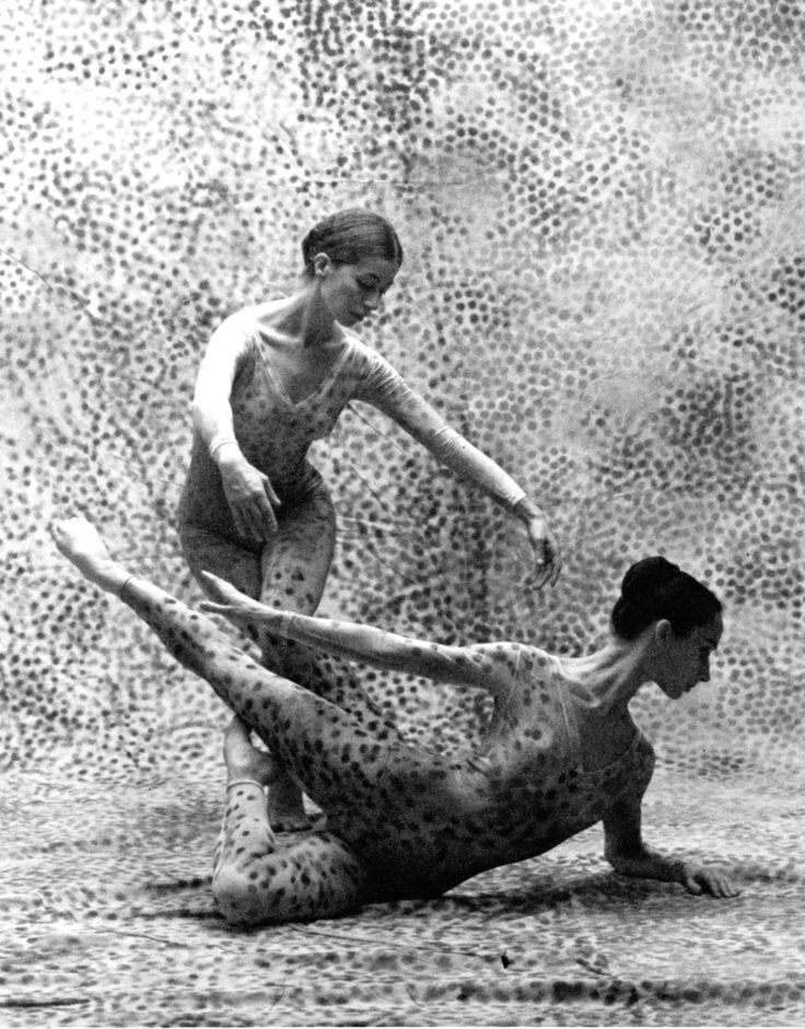"""Carolyn Brown and Viola Farber, of Merce Cunningham Dance Company, perform """"Summerspace,"""" in 1958."""