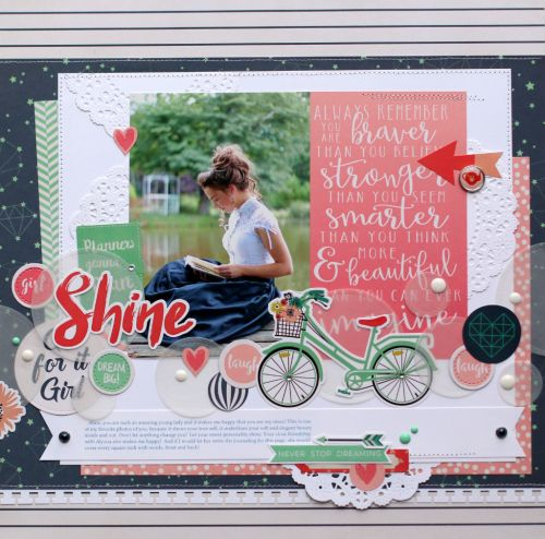 "Anya Lunchenko scrapbooked this beautiful layout with the ""Just Be You"" collection from #EchoParkPaper"