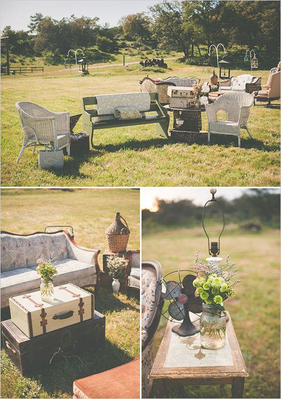 rustic vintage outdoor seating area http://www.weddingchicks.com/2013/09/11/vintage-diy-wedding-3/