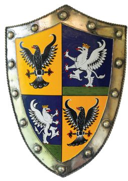 """Irish Coat of Arms Warrior Shield - Silver. In medieval times, not every man was a knight, but every man had to know how to fight. Celebrate your ancestors fighting spirit with our Warrior Shield, distinguished with the historical Irish Coat of Arms granted to your family surname. The life-size (25""""h x 18""""w) metal shield is surprisingly light, allowing for easy mobility whether on foot, horseback or wall display."""