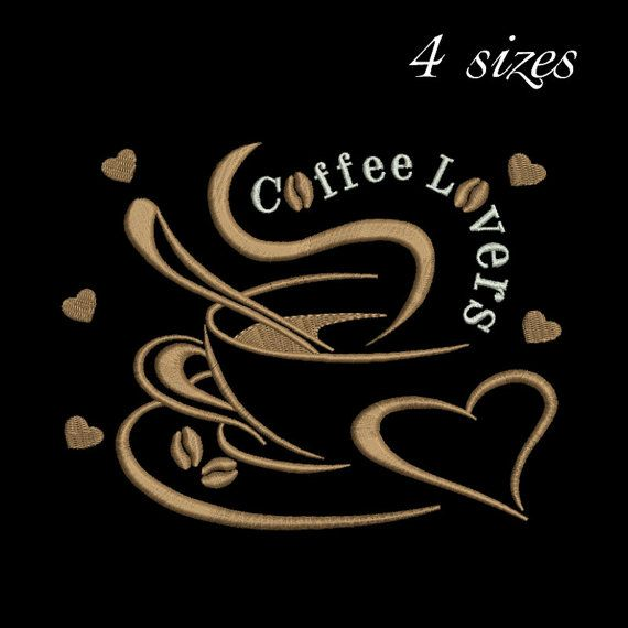 Coffee Lovers machine embroidery by GretaembroideryShop on Etsy