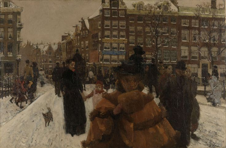 Breitner often took photos when preparing a painting. Several preparatory photos for this painting are also known. The way the woman is walking directly towards us and the way the picture is cropped gives it a photographic feel. Originally, Breitner's subject was a maid, but following the negative response of the art dealer who sold his work, Breitner turned her into a lady. George Hendrik Breitner, 1896