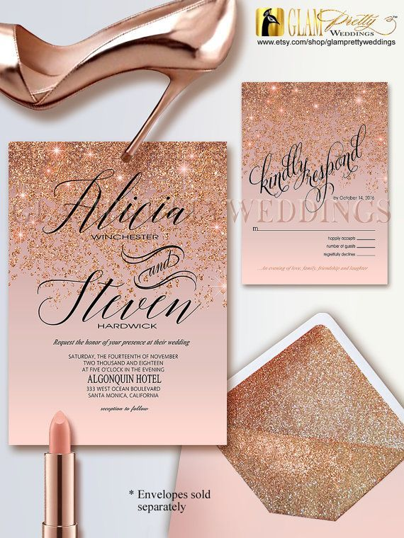 Rose Gold Glitter Wedding Invitation & RSVP by GlamPrettyWeddings                                                                                                                                                                                 More