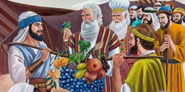 Joshua and Caleb and the other spies showing Moses great fruitage from the land of Canaan