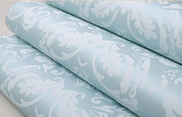 Non-woven european glossy stylish blue beige white modern damask wallpaper living room modern luxury wall paper for bedroom