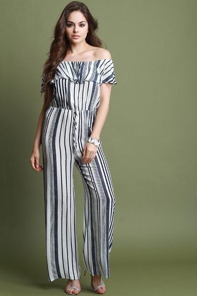 This jumpsuit features vertical stripes design, bardot neckline with flutter tier, elasticized cinched waist, drawstring d�cor, and wide palazzo cut legs. Accessory sold separately. Made in U.S.A. 100% Rayon. Measurement     Size Bust Waist Hip Length Sleeve   S 26 10.5 34 53 5.5   M 28 11.5 36 54 5.75   L 30 12.5 38 55 6