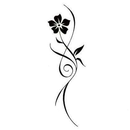 Tribal Tattoo Designs | Delicate Tribal Flower Tattoo Design - TattooWoo.com