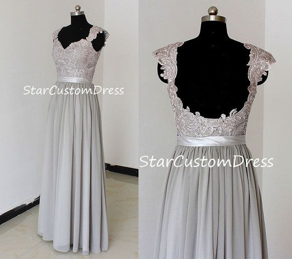 Grey Long Lace Bridesmaid Dress Chiffon Dress With cap sleeves and open back prom dress on Etsy, $99.00