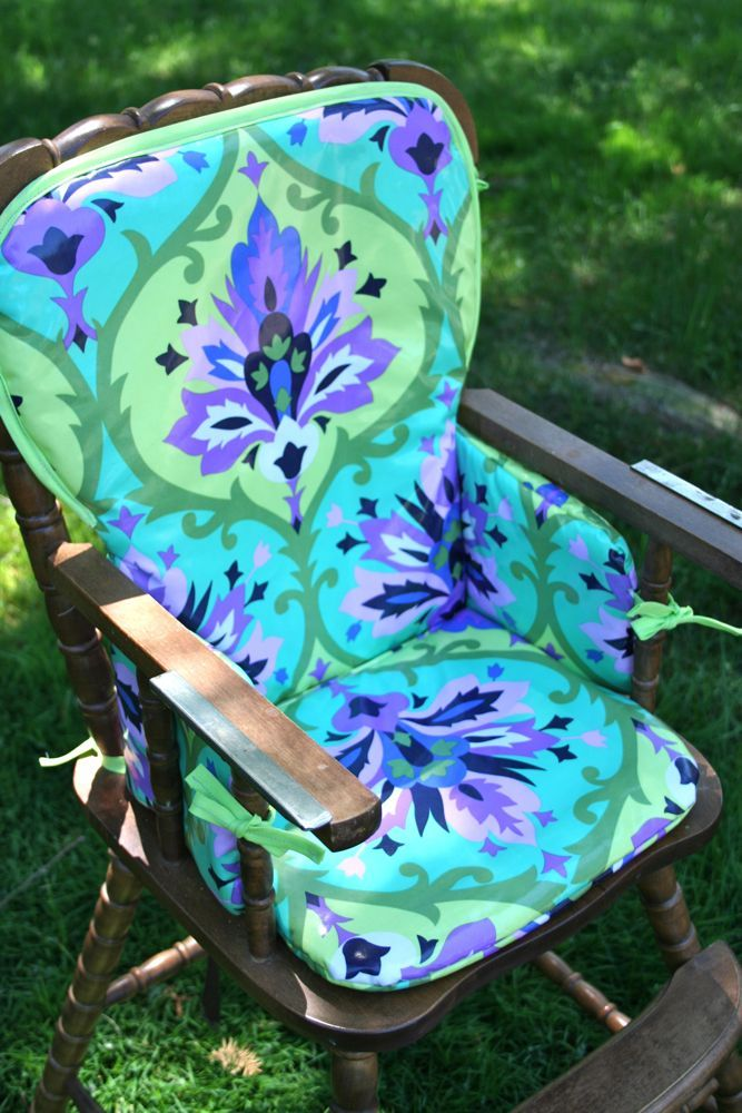 For today's project I'm going to show you how to use laminated cotton to make a stylin' Padded Highchair Cover.