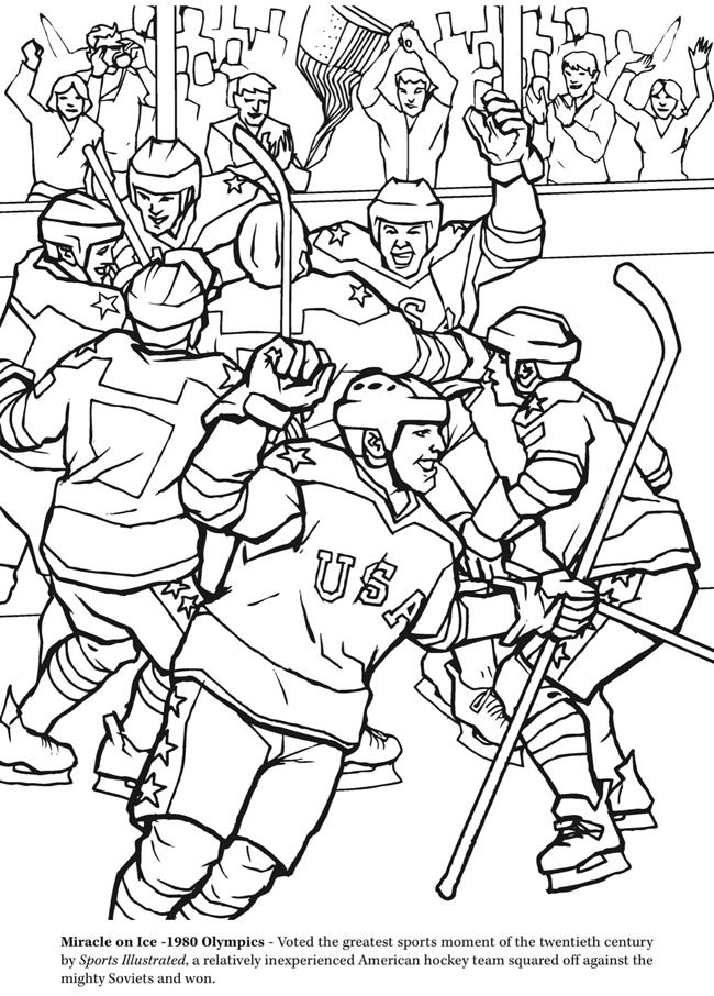 the hockey coloring book dover publications - Sports Coloring Book