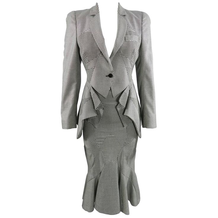 Alexander McQueen Houndstooth Peplum Skirt Suit | From a collection of rare vintage suits, outfits and ensembles at https://www.1stdibs.com/fashion/clothing/suits-outfits-ensembles/