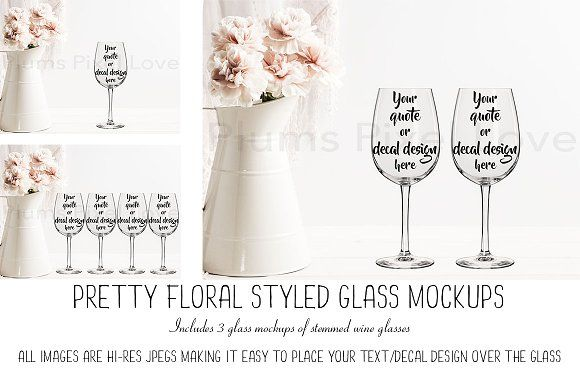 3 Pretty Floral Wine Glass Mockups by Plums Pixel Love on @creativemarket