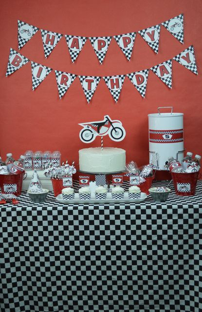 Very cool dirt bike boy birthday party! See more party ideas at CatchMyParty.com!