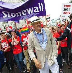 UK: Sir Ian McKellen marches in London Pride parade