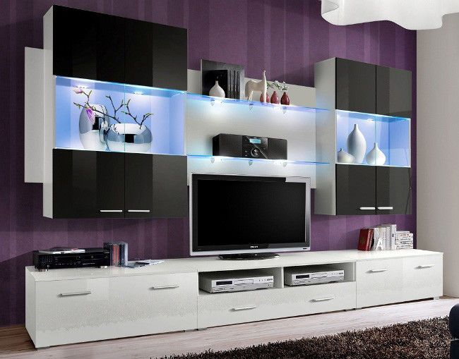 Space 4 Contemporary Furniture For Living Room 2 X Wall Display Cabinet With Led Lighting Living Room Wall Units Living Room Entertainment Center Wall Unit