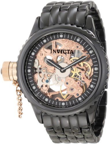 Invicta Men's 1926 Russian Diver Mechanical Rose Gold Tone Skeleton Dial Black Ceramic Watch Invicta. Save 80 Off!. $299.00. Mechanical movement. Water-resistant to 50 M (165 feet). Black and white second hand. Rose gold tone skeleton dial with black border; black and white hands; luminous; secured 18k rose gold ion-plated stainless steel screw-down protective clasp on crown at 9:00; exhibition case back. Flame-fusion crystal; polished black ceramic case and bracelet