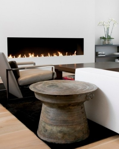 Wonderful Indonesian Rain Drum Side Table And Uber Modern Fireplace
