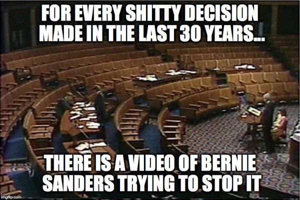 For every shitty decision made in the last 30 years... there is a video of Bernie Sanders trying to stop it.
