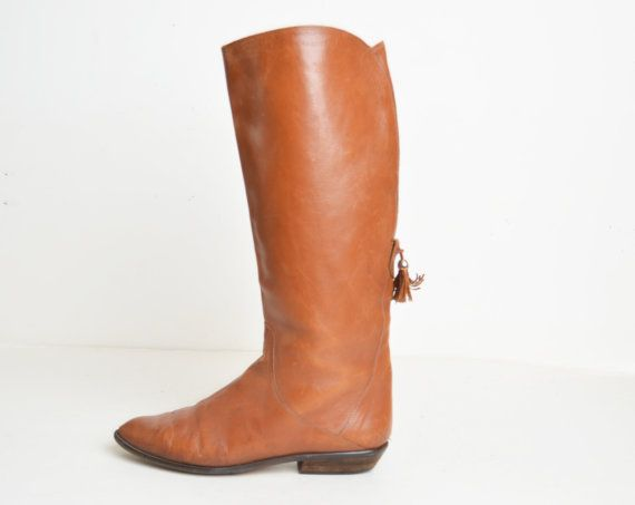 Vintage 70s Brown Leather Riding Boots / 1970s Tall Tassel Boots