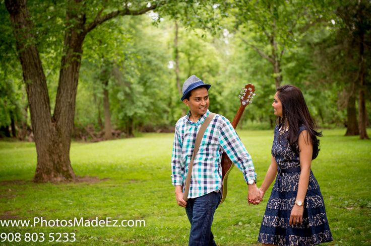 Gujarati Couple's Engagement Session in New Jersey. Wedding in Park Ridge Marriott. With Guitar Featured in South Asian Bridal Magazine,SAB.