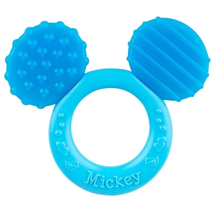 Give your baby the comfort of this BPA-free soft rubber teether to ease achy gums. With a Mickey Mouse design and a bright blue hue, your baby gets tactile stimulation and discovery in addition to tee