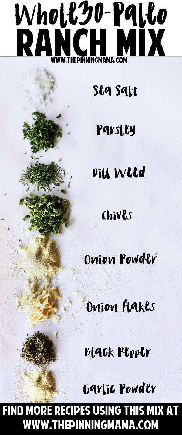 Paleo Ranch seasoning mix recipe - gluten free, whole30 compliant, dairy free and DELICIOUS! Click here to get more ideas on how to use it.