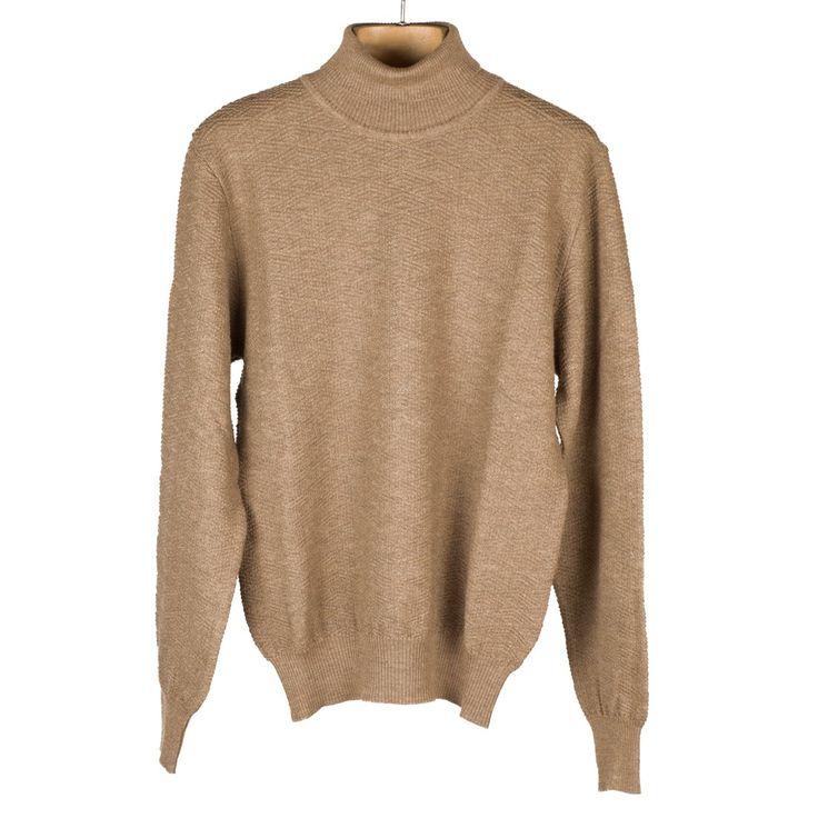 Camel rollneck extrafine merino wool sweater, diamond pattern | No Man Walks Alone