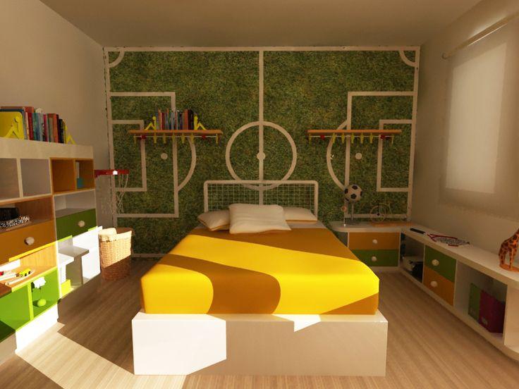 diseo de mobiliario para nio y decoracion con tematica deportiva cubo