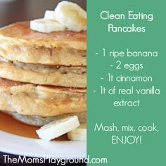 clean eating pancakes with bananas.  Wheat, gluten free.  The Moms Playground…
