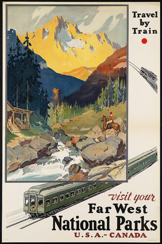 Visit national parks by train mountain travel for Vintage train posters