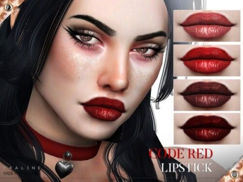 Code Red Lipstick N129 by Praline Sims for The Sims 4