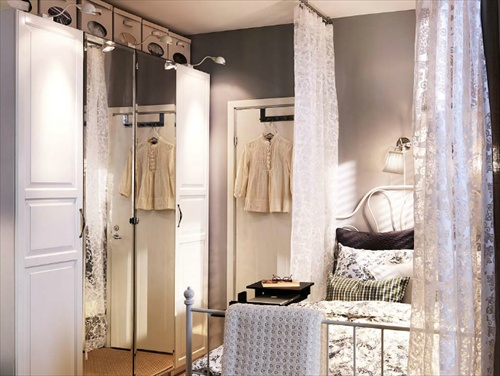 Love this bedroom - use simple lace curtains to divide space | Ikea: Dreams Bedrooms, Closet Doors, Bedrooms Design, Bedrooms Inspiration, Bedrooms Decor, Ikea Bedrooms, Bedrooms Ideas, Bedrooms Colour, Beautiful Bedrooms