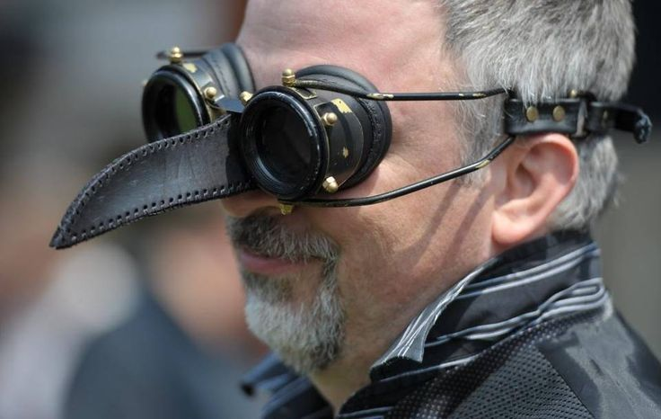 Kelvin Saxton wears crow-inspired goggles at the first Fairhaven Steampunk Festival in 2012.