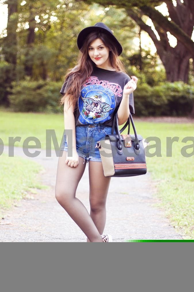 band tee, cut off jean shorts, love! #pantyhose #sexy #ladies #women #ladyproducts #lush #smooth #fashion #stunning #legs #glamour