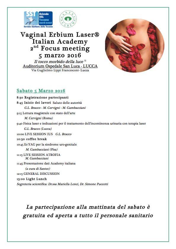 2nd focus meeting della Italian Vaginal Erbium Laser Academy, Lucca.