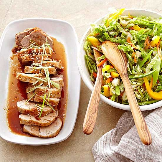 Give pork tenderloin an Asian flair with teriyaki, ginger, and sesame flavors served alongside a veggie-packed slaw for a complete dinner recipe. Did we mention the pork is cooked in the slow cooker?