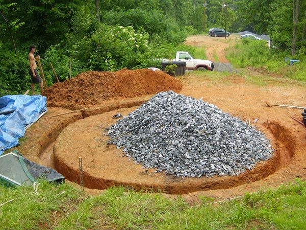 Digging earthbag house foundation