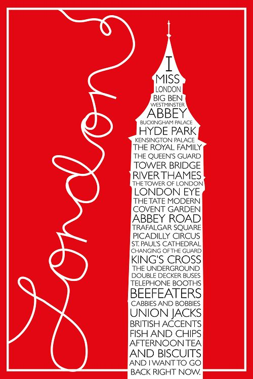 Red London Travel Poster via coffeepearlsandpoetry.tumblr.com