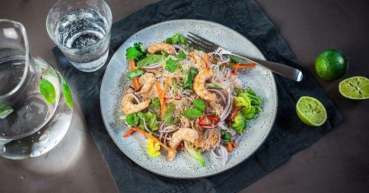 Vjetnamiešu stikla nūdeļu salāti ar garnelēm| Santa Maria recepte