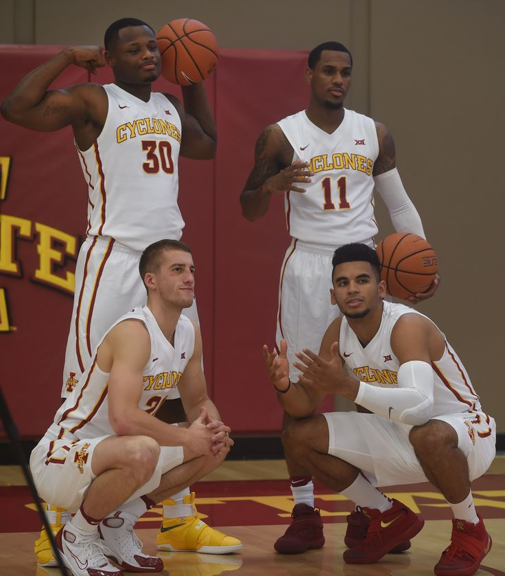 Iowa State seniors, clockwise, from upper left, Deonte Burton, Monte Morris, Naz Mitrou-Long and Matt Thomas will be the backbone of the team during the coming season. Photo by Nirmalendu Majumdar/Ames Tribune http://www.amestrib.com/sports/20161012/mens-basketball-defensive-improvement-tops-isus-priorities