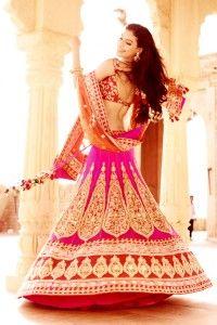 kalki pink gold bridal lengha