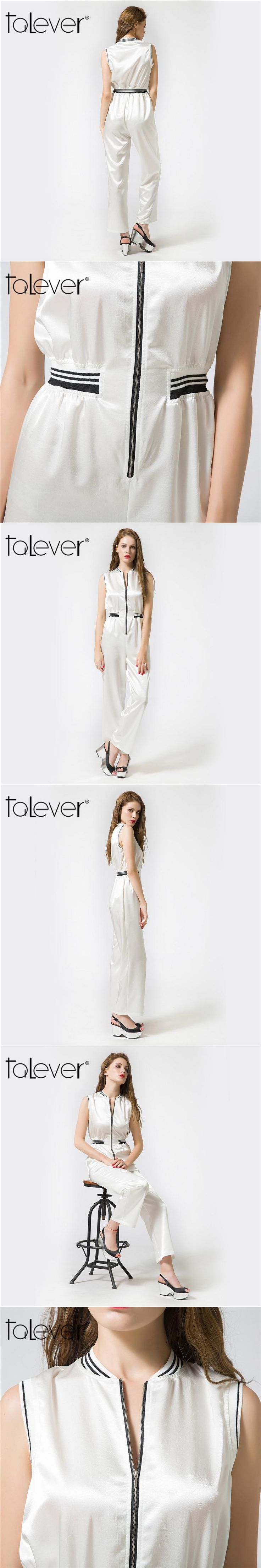 Talever 2017 Fashion White Playsuits Women Elegant Summer O Neck Jumpsuits Rompers Sexy Seleeveless Zipper Closure Overalls