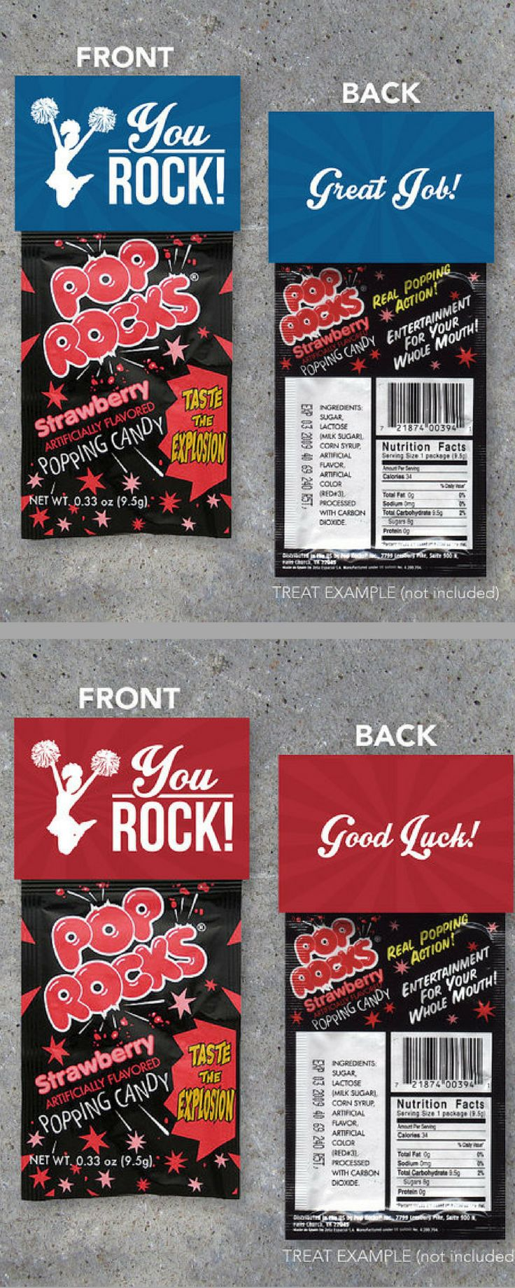 """$5. Cheerleading YOU ROCK Treat Toppers for Pop Rocks – Printable """"Good Luck"""" & """"Great Job"""" Red and Blue Gift Tags for Locker Treats-Cheer Gifts #ad"""