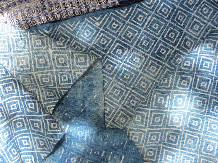 geometric patterns in indigo, handmade Hmong batik