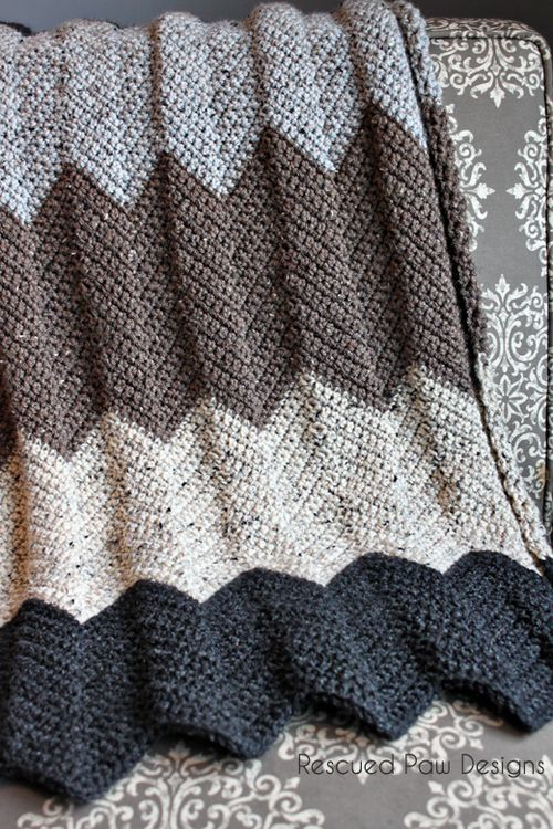 Neutral Chevron Crochet Blanket Pattern :: Rescued Paw Designs