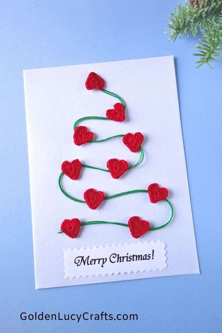 15 Diy Christmas Cards Embellished With Crochet Appliques Diy Christmas Cards Christmas Cards Handmade Christmas Cards