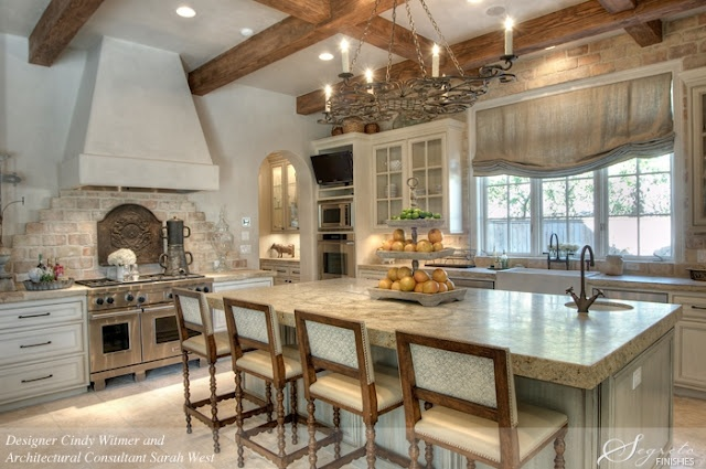 why can I not be disciplined...I am always junking up my counters with doo dads that I love.: Beautiful Kitchens, Dreams Kitchens, Romans Shades, Brick, Rustic Kitchens, Window Treatments, House, Bar Stools, French Kitchens