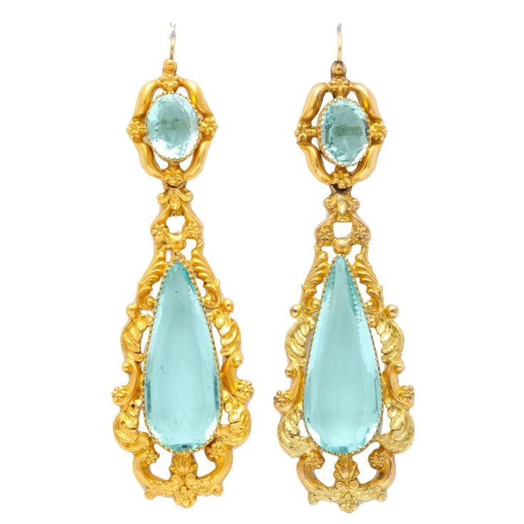 Brilliant Georgian Aqua Paste and Pinchbeck Earring - 114 Best Paste Images On Pinterest Chandeliers, Amethysts And