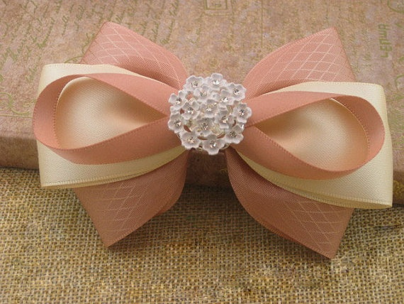 Bridal Hairpiece bridal hairbow Hair Ribbon bow by mycookiecan, $21.99